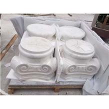 Stones White Marble Column Bases Sculptured