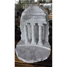 White Marble Roman Architectural Column Sculptured