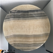 Brown Round Tiger Onyx Table Tops, Recetion Desk