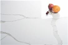 Artificial Quartz Gold Vein Slab and Tile Kitchen