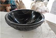 Bathroom Black Nero Marquina Marble Oval Sinks