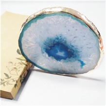 Blue Agate Coasters with Gold Edge Plated Drink