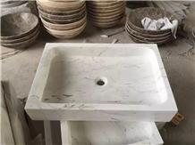 Carrara White Marble Wash Basin, Onyx Vessel Sink