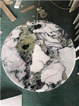 White Beauty Ice Connect Green Marble Tabletops