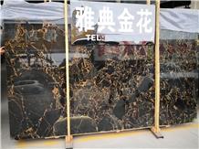 Portoro Gold Black Golden Flower Marble Slabs