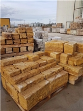 Classic Gold Travertine Wall Stock Stone Masonry