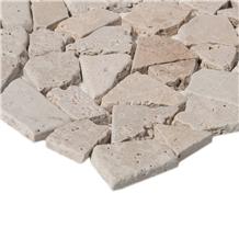 Classic White Travertine Chipped Mosaic Wall Tile