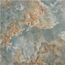 Iran Blue Brown Onyx Slab,Golden Turquoise Tiles