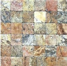 Multicolor Travertine Brick Cladding Mosaic