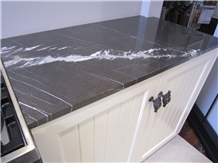 Pietra Grey Marquina Marble Kitchen Top Customized