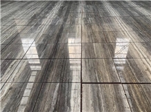 Silver Travertine Glossy Tile Vein Cut Project