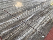 Silver Travertine Glossy Vein Cut Project Tiles Floor