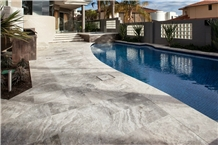 Silver Travertine Swimming Pool Channels Coping Pavers, French Pattern