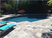 Silver Travertine Swimming Pool Coping Tiles