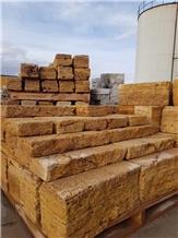 Sun Golden Travertine Cube Stone Castle Wall Rocks Exterior
