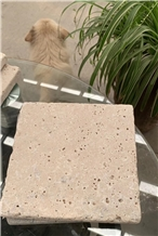 Tumbled Beige Travertine Tiles Unfilled Kitchen Floor Covering Antique Style