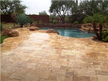 Tumbled Golden Travertine Cube Stone Floor French Pattern,Swimming Pool Deck Pavers