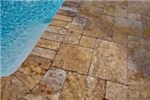 Tumbled Golden Travertine Cube Stone Floor Paving Set,Swimming Pool Deck Pavers