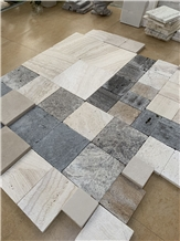 Tumbling Silver Travertine & Limestone Cube Stone Sample Set