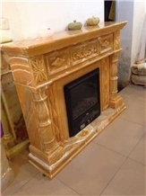 China Natural Yellow Stone Fireplace Decoration