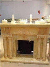 Modern Style Marble Stone Indoor Fireplace Carving
