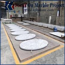 Carrara White Round Marble Table