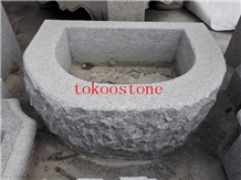 Granite Stone Water Trough/Basin for Garden