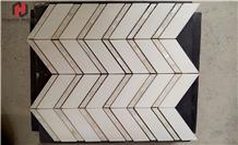 Herringbone Marble Floor Mosaic Backsplash Mosaic