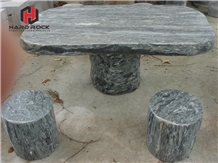 Outdoor Stone Bench and Table