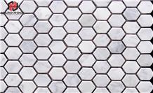 Polished Grey-White Marble Honeycomb Mosaic Tile