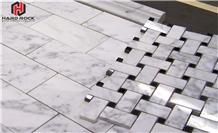 White Marble Polished Basketweave Mosaic