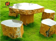 Yellow Golden Granite Outdoor Table and Bench