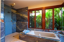 Exotic Brazil Fusion Blue Quartzite Bath Design