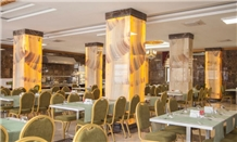 Honey Onyx Croscut Slabs Column Panels