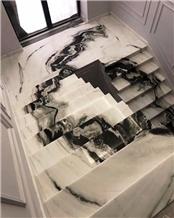 China Panda White Marble Stairs,Interior Floor Step