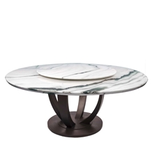 Panda White Marble Dinner Round Coffee Table.Interior Stone Furniture Customzied