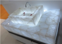 Translucent White Semiprecious Stone Vanity Top