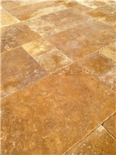Gold Travertine Tile Tumbled,Turkey Travertine