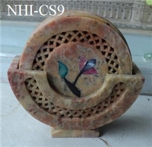 Soapstone Carved Coaster Set