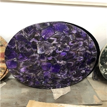 Semi Precious Stone Amethyst Side Table Top