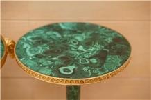 Semiprecious Stone Malachite Side Table