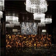 Backlit Brown Agate with Gold Hotel Front Desk