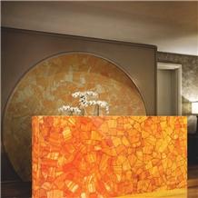 Backlit Crystal Orange Semiprecious Stone Agate