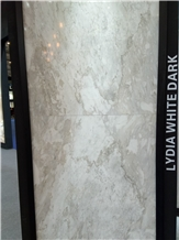 Lydia White Dark Marble Slabs, Tiles