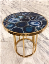Blue Agate Gemstone Round Cafe Table Tops