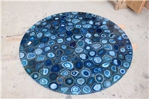 Blue Agate Semi-Precious Stone Round Table Tops