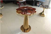 Red Agate Semi-Precious Stone Table Top Design