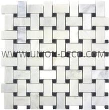China New Carrara Marble Grid Tile Waterjet Mosaic