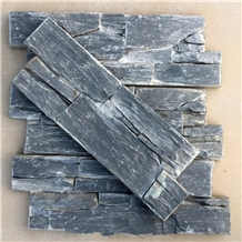 Black Slate Stacked Stone Panels Wall Claddings