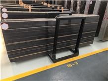 China Black Lilac Wood Vein Marble Slab Tile